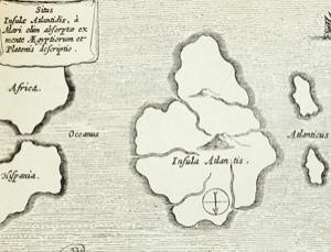 17世纪一份雕刻艺术品上的亚特兰蒂斯古城位置图