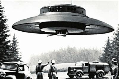 原文配图:早期纳粹研发碟形飞行器时的模拟画。