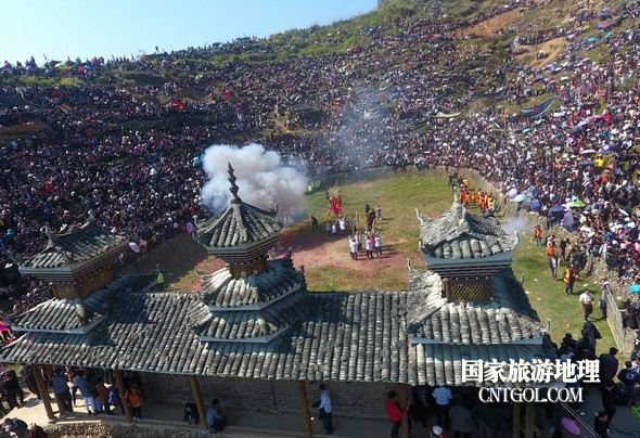 11月3日,贵州省从江县下江镇巨洞斗牛塘40头牛王争霸,图为战胜后的庆祝场面。